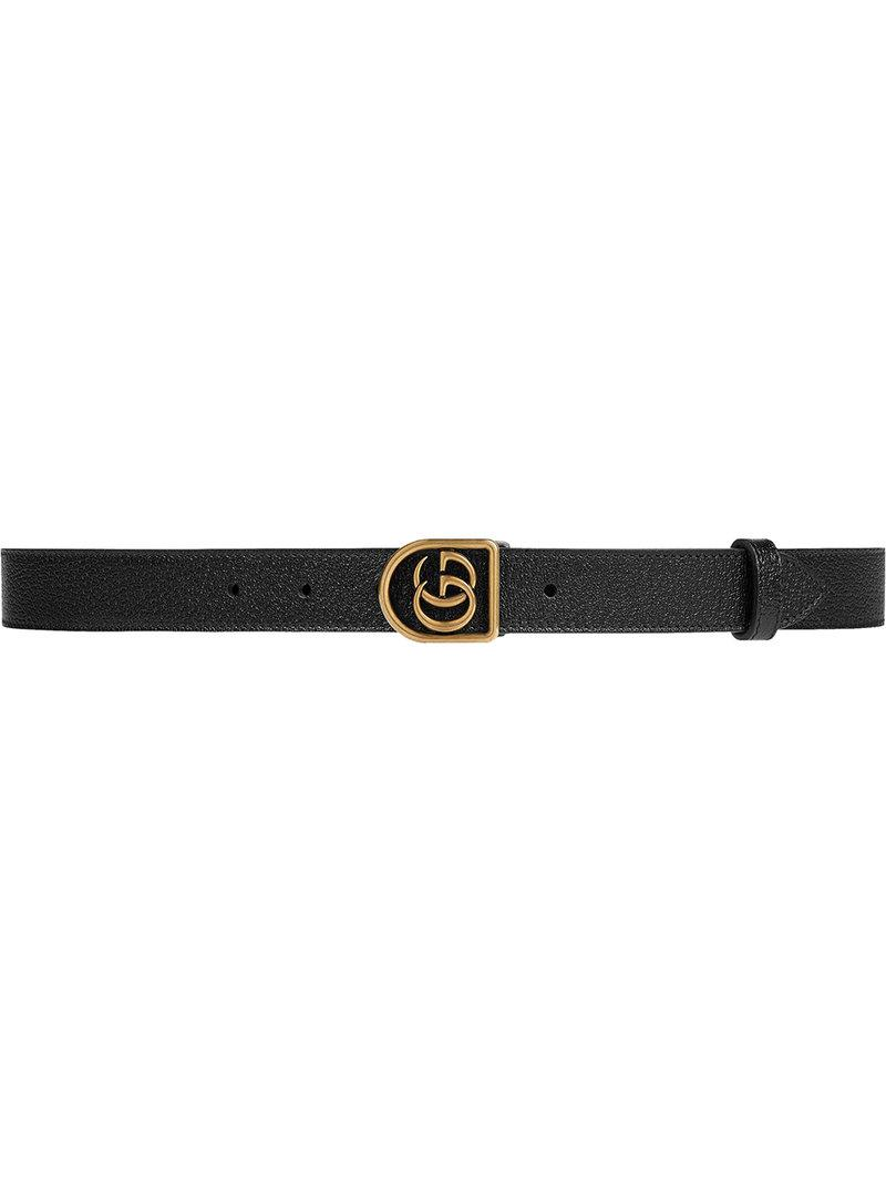 08b6fbcd509 Gucci Leather Belt With Framed Double G in Black for Men - Lyst