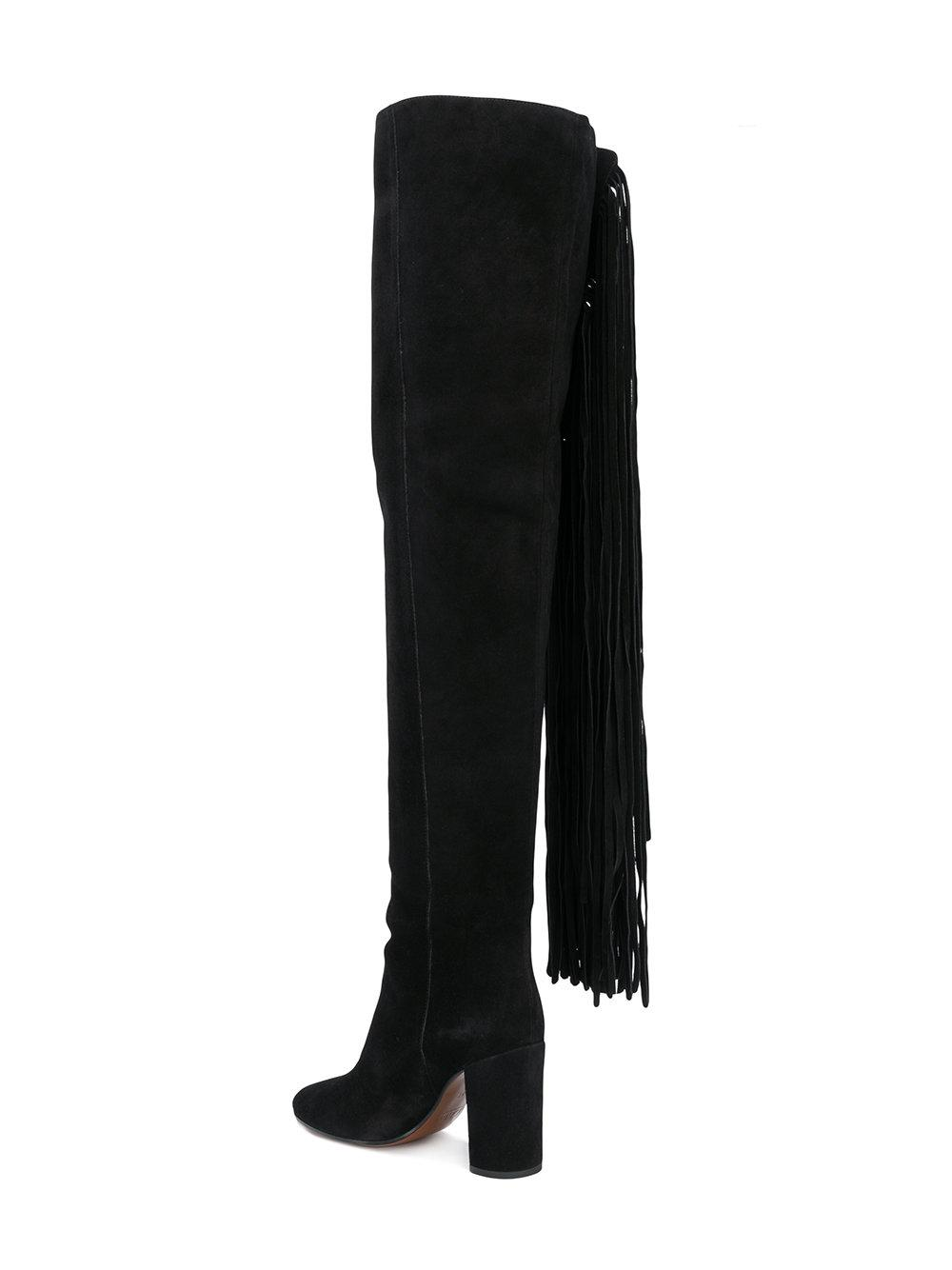 Qaisha fringed over-the-knee boots - Black Chlo yA1xsjP9
