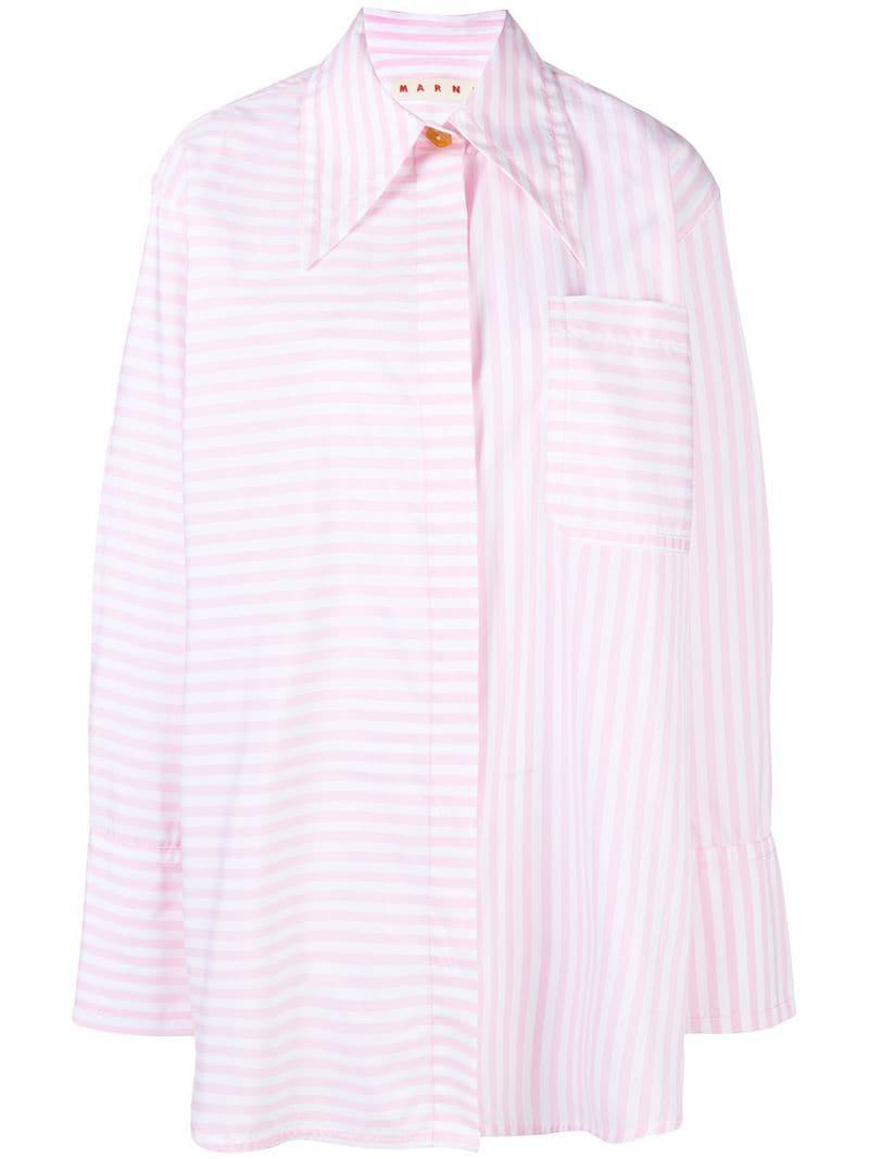 3162349e7b Lyst - Marni Oversized Striped Shirt in Pink - Save 60.0%