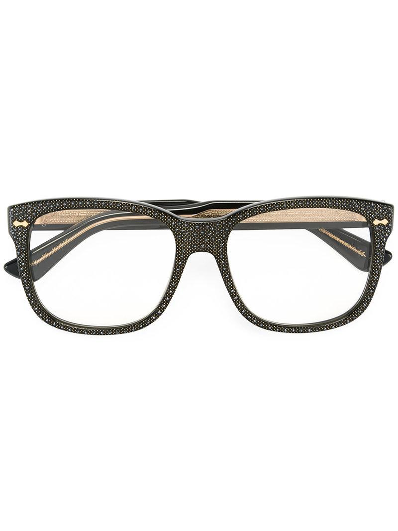 50208c5368e Lyst - Gucci Square Frame Rhinestone Glasses in Black