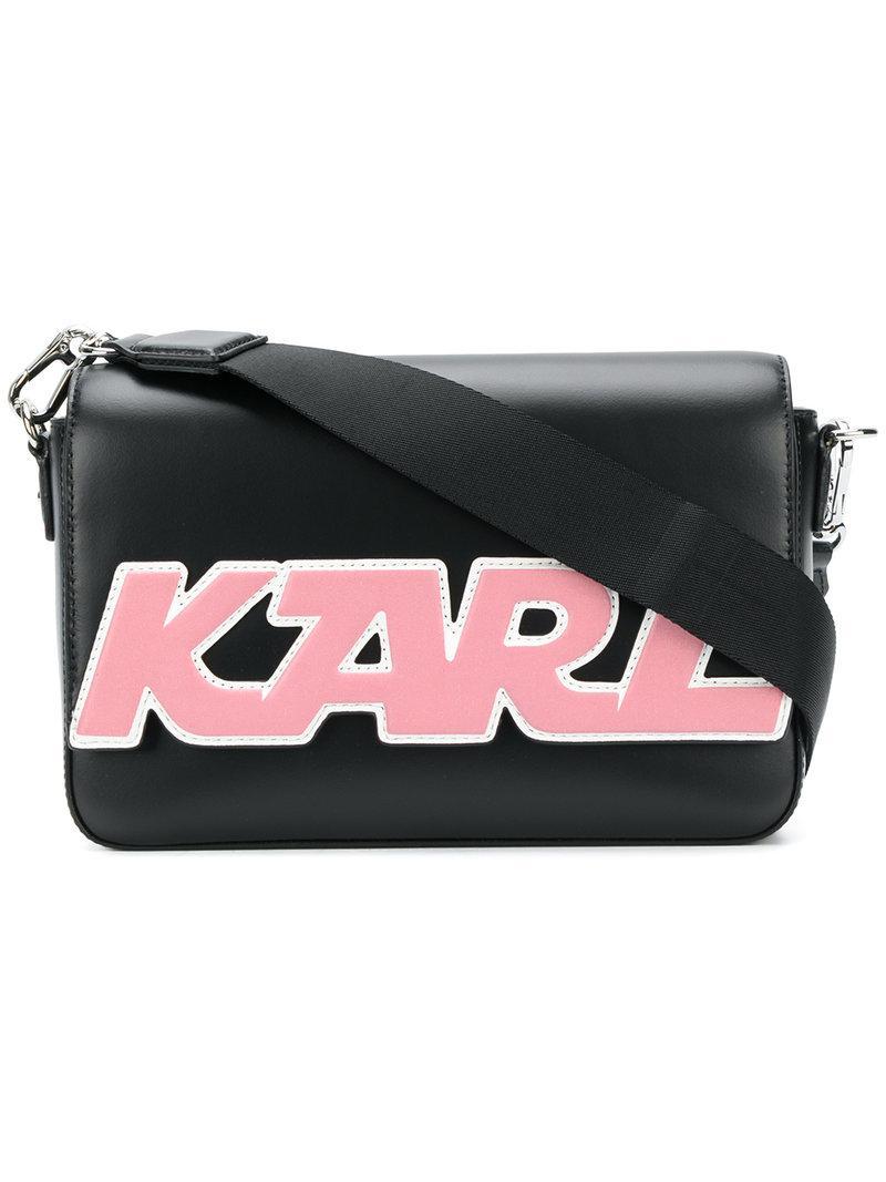 Lyst Karl Lagerfeld Logo Patch Shoulder Bag In Black