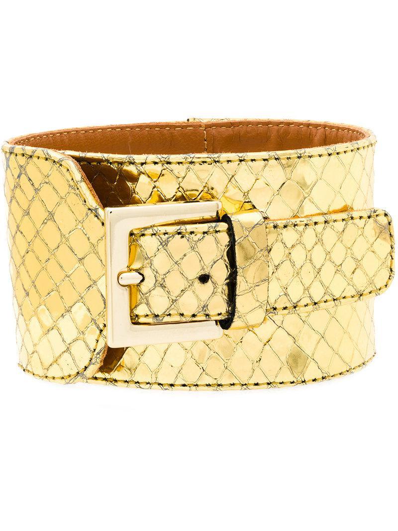 Via Roma 15 snakeskin effect buckled bracelet - Metallic wjHm5Q