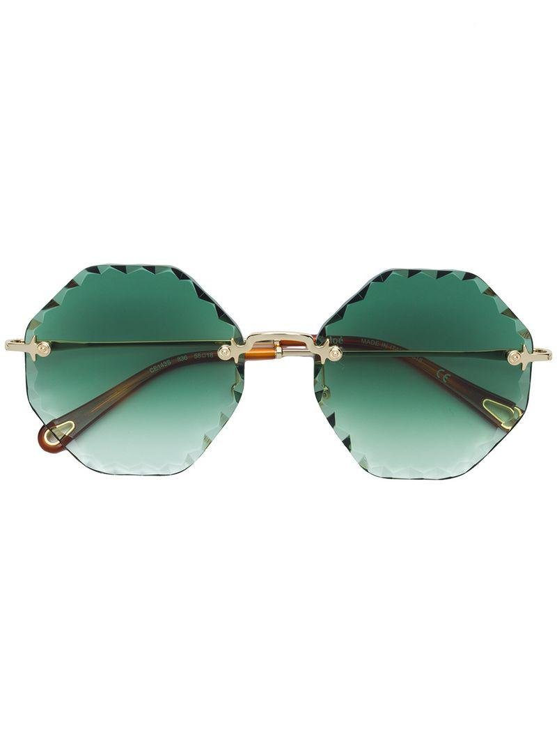 a11da3fb59aaa Chloé Bevelled Edge Round Frame Sunglasses in Brown - Lyst