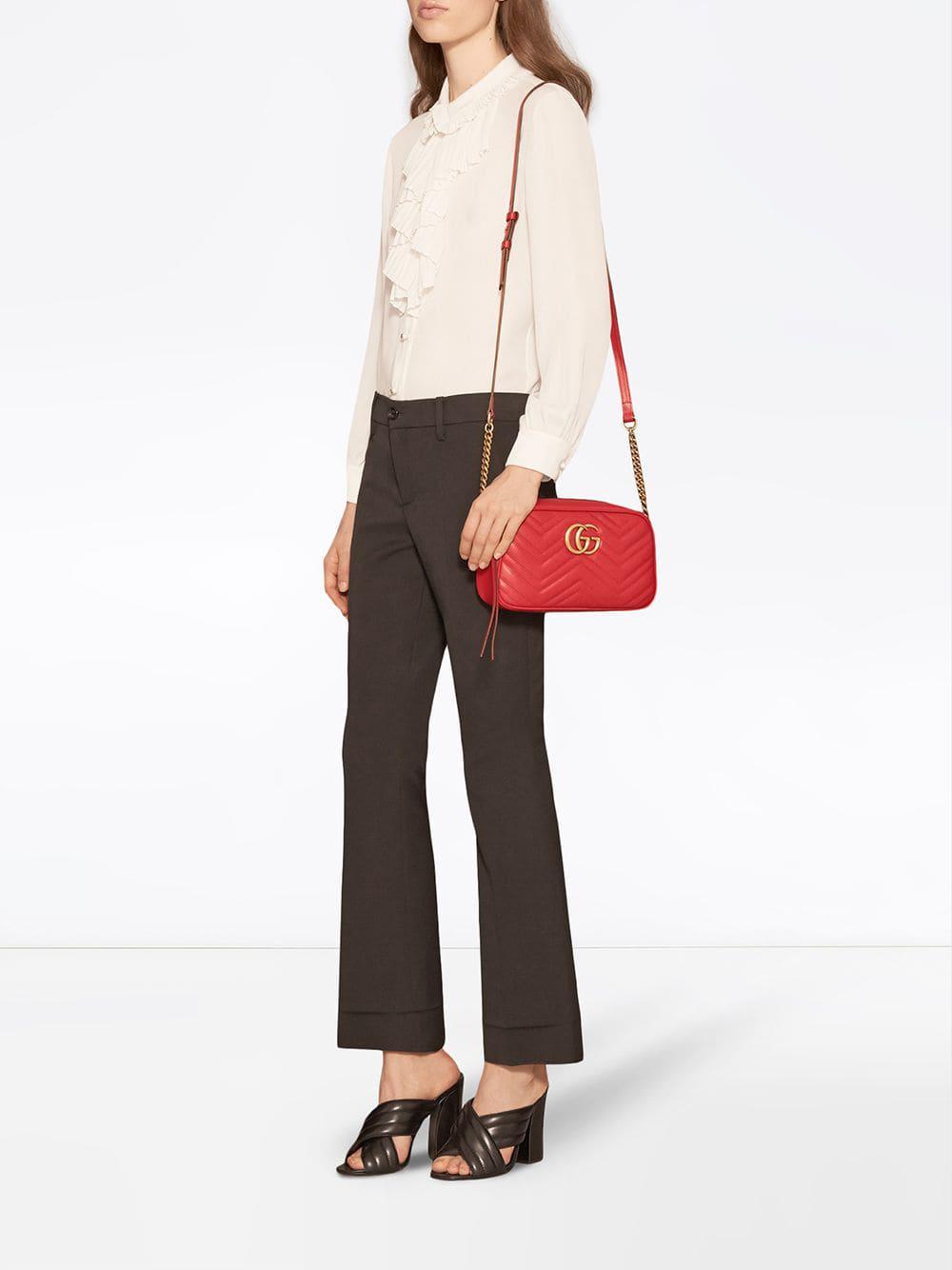 e125367aec36 Gucci - Red GG Marmont Small Matelassé Shoulder Bag - Lyst. View fullscreen