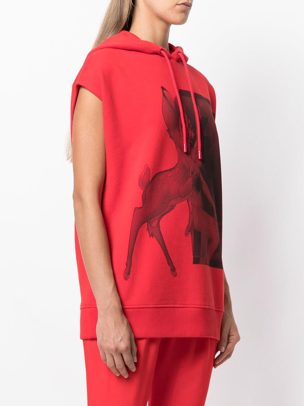 8dbbf4e8221bdc Lyst - Givenchy Bambi Print Sleeveless Hoodie in Red