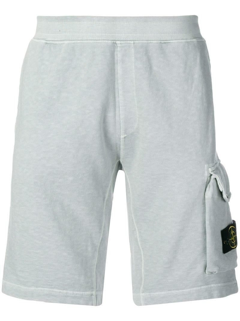 744d1ea070 Lyst - Stone Island Logo Patch Track Shorts in Gray for Men
