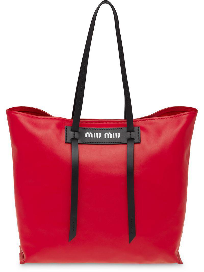 7b783ce1dd2b Miu Miu Grace Lux Tote Bag in Red - Lyst
