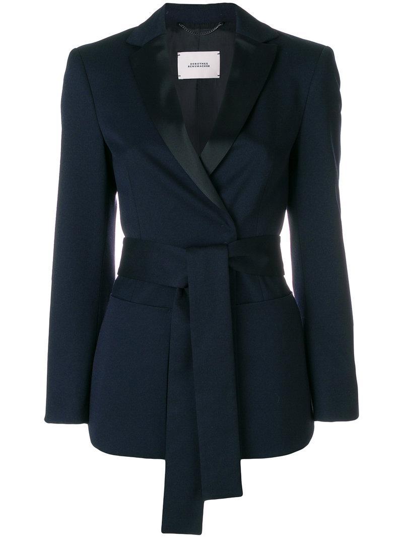 lyst dorothee schumacher belted blazer in blue. Black Bedroom Furniture Sets. Home Design Ideas