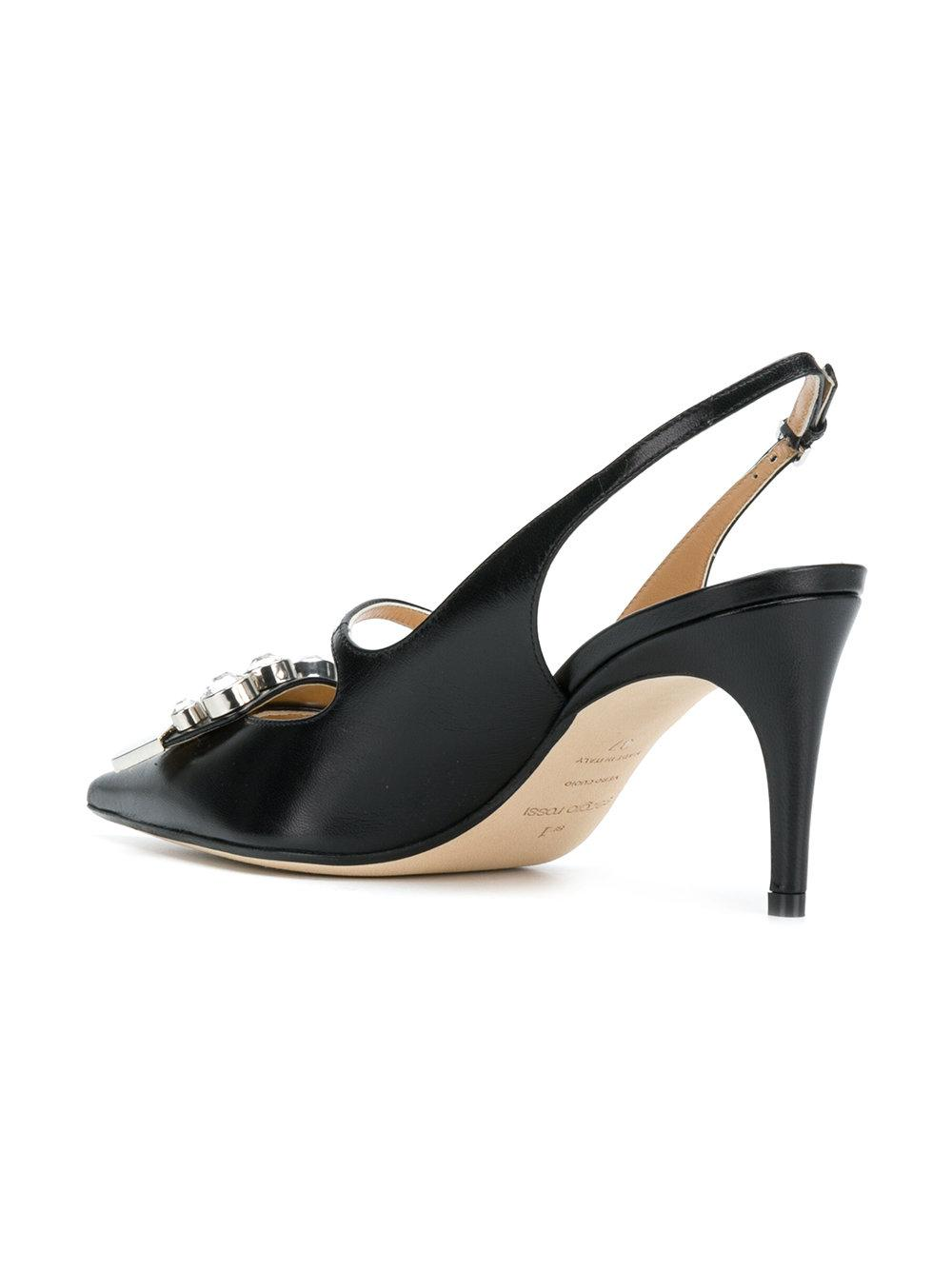 logo sling-back pumps - Black Sergio Rossi