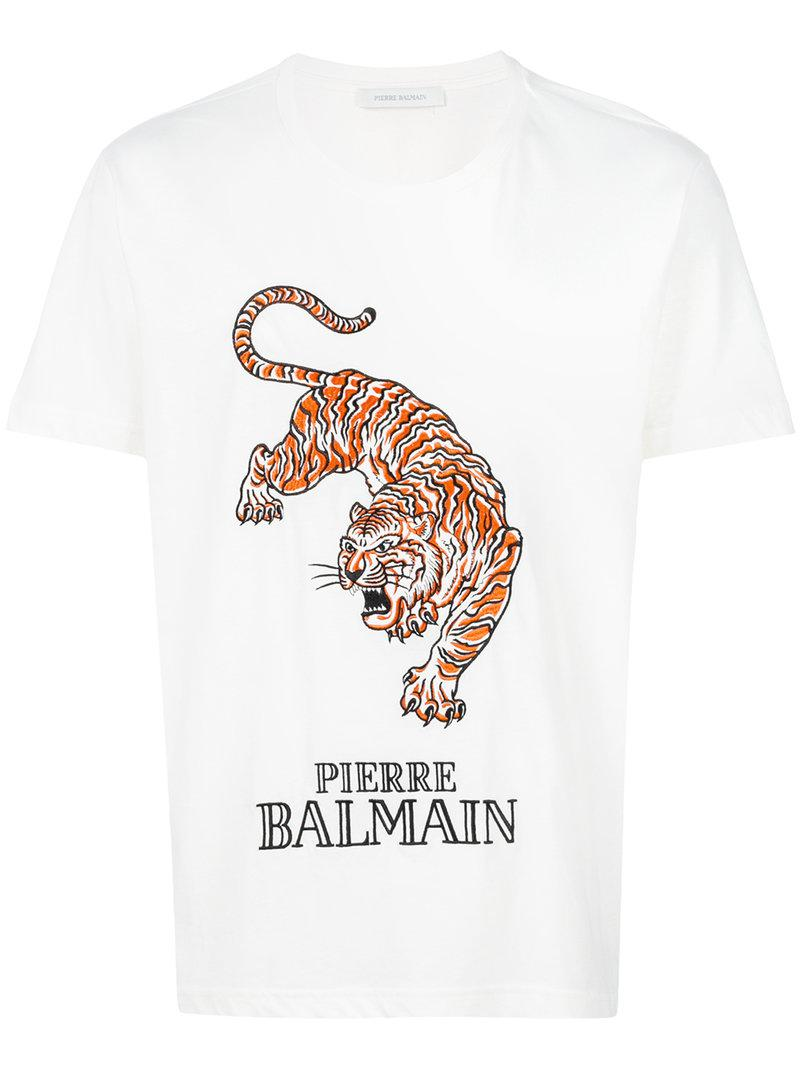 4f127d68 Balmain Embroidered Tiger T-shirt in White for Men - Lyst