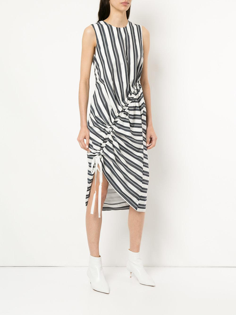 stripe gathered midi dress - Blue CHRISTOPHER ESBER ELaOT