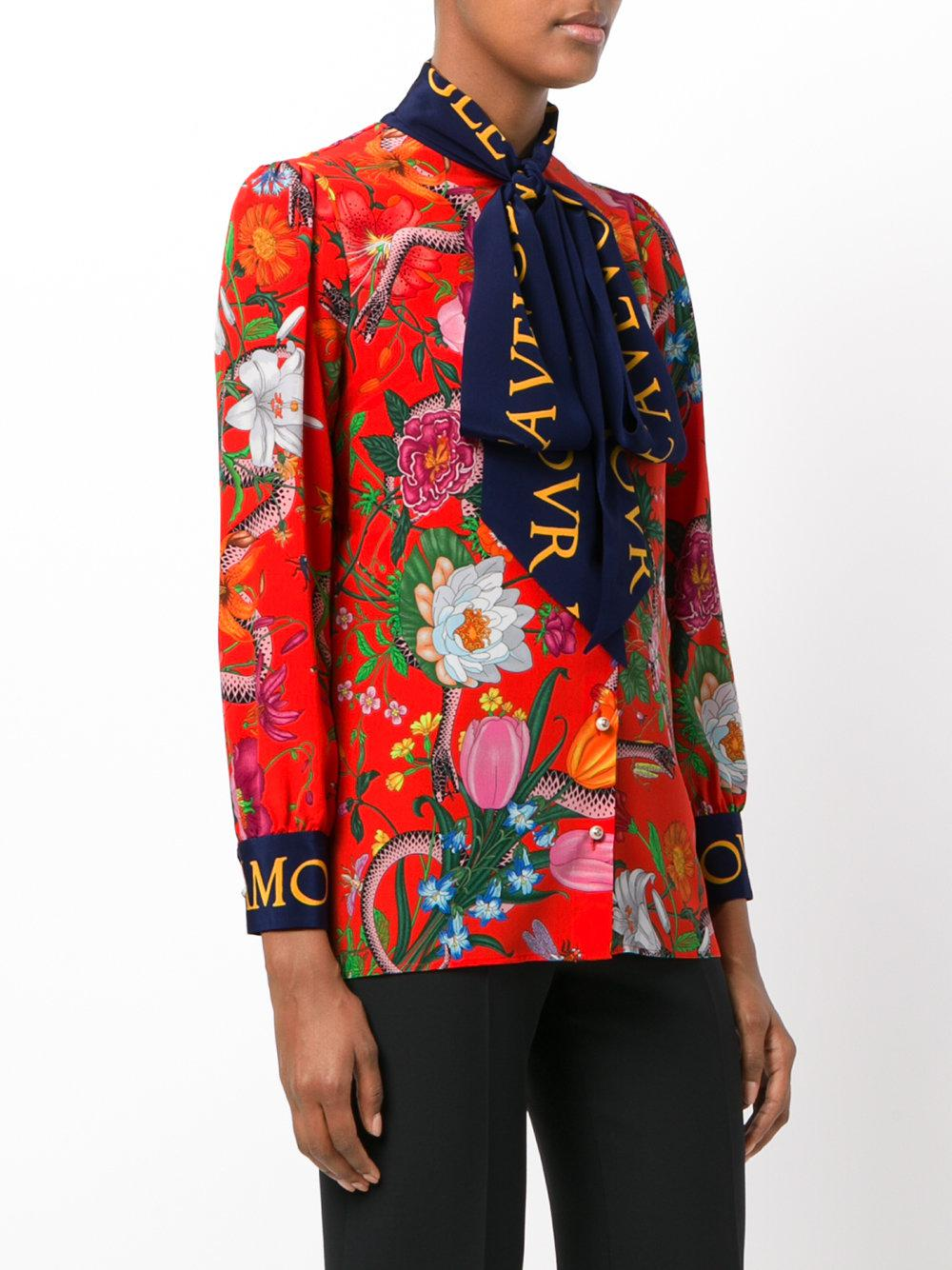 bd19b8d0b Gucci L'aveugle Par Amour Floral Blouse - Lyst