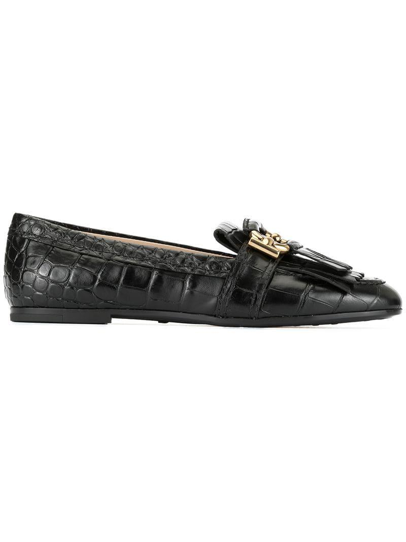 ea2c22686db Lyst - Tod s Fringed Trim Loafers in Black
