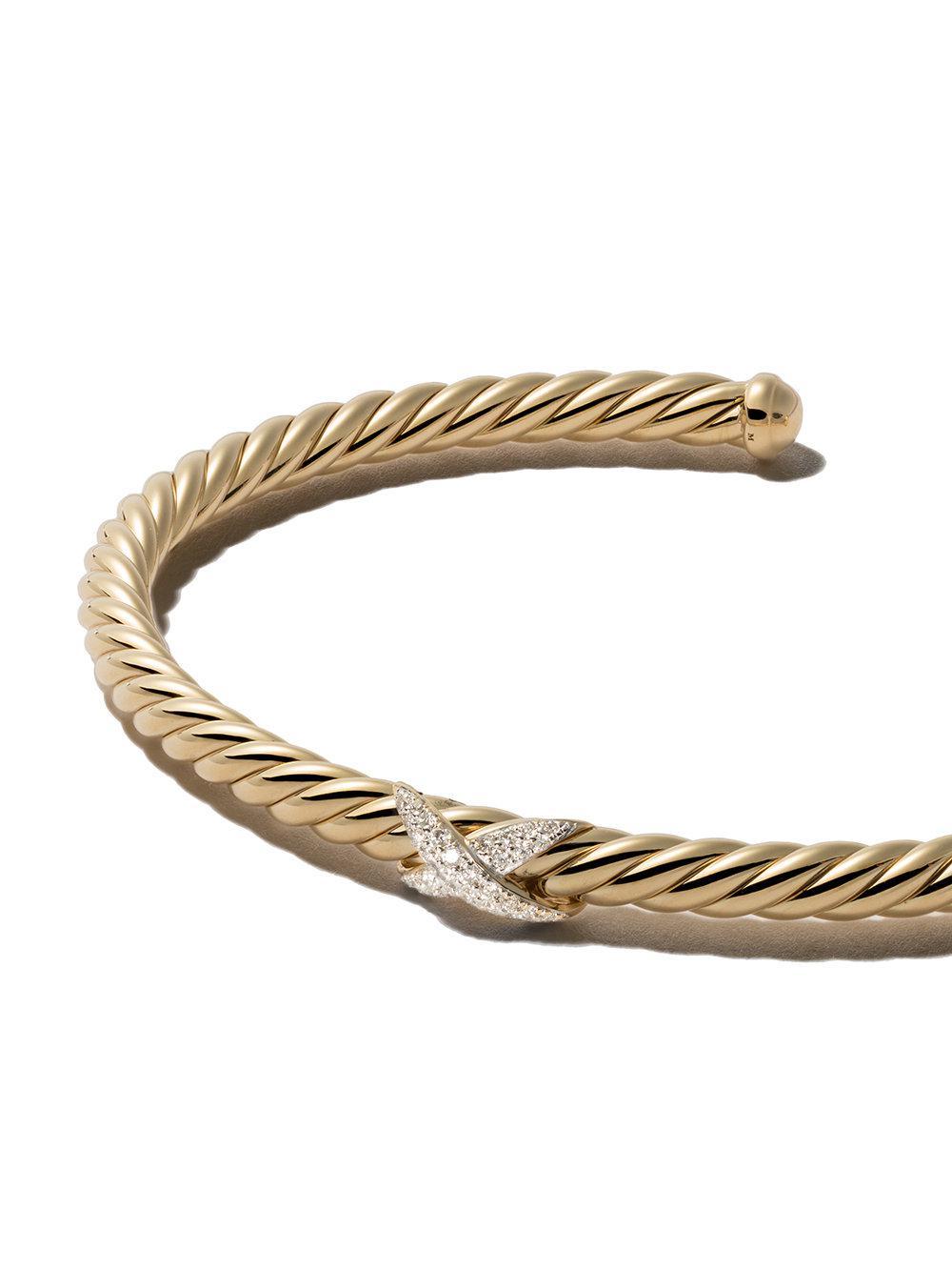 David Yurman 18kt yellow gold Cable Spira diamond cuff bracelet - Metallic wsv1Ao1f