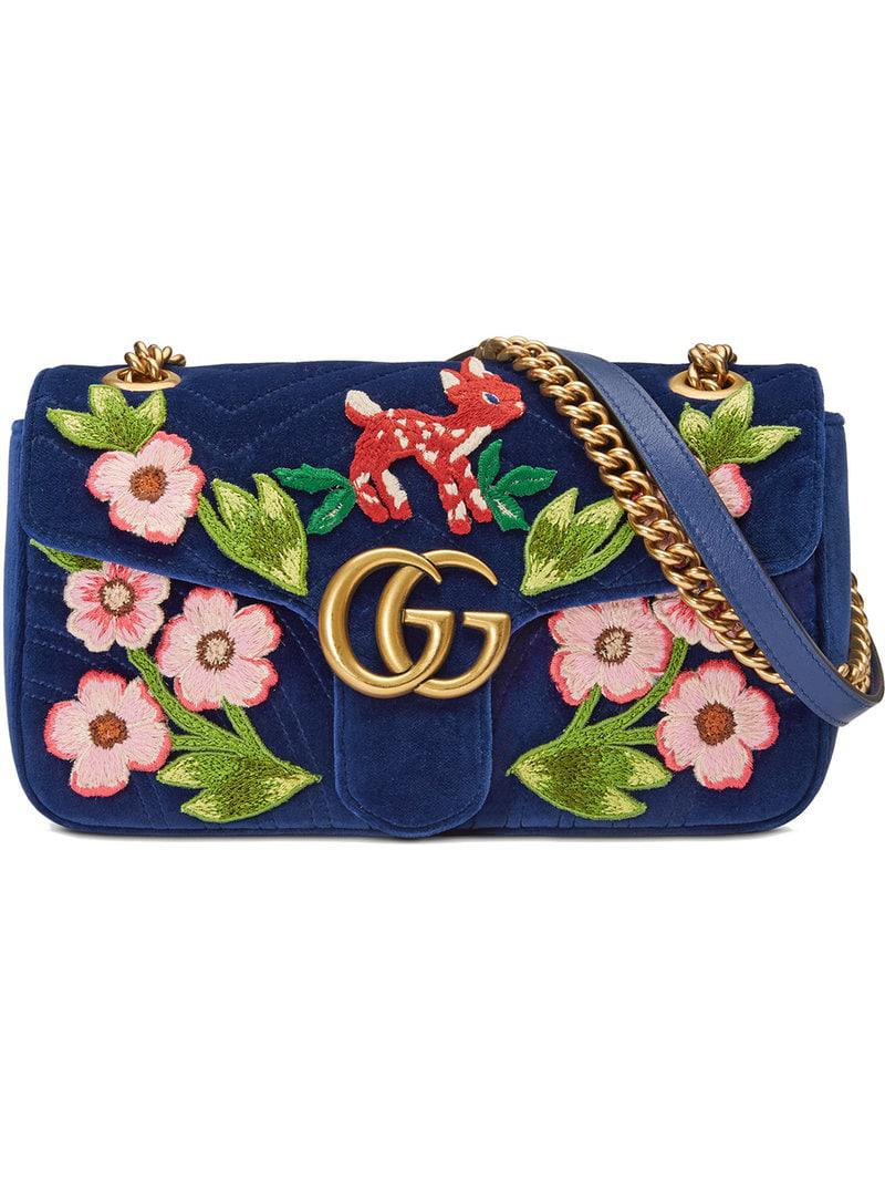 4a6f75a98e67 Gucci GG Marmont Velvet Small Shoulder Bag in Blue - Save 11% - Lyst