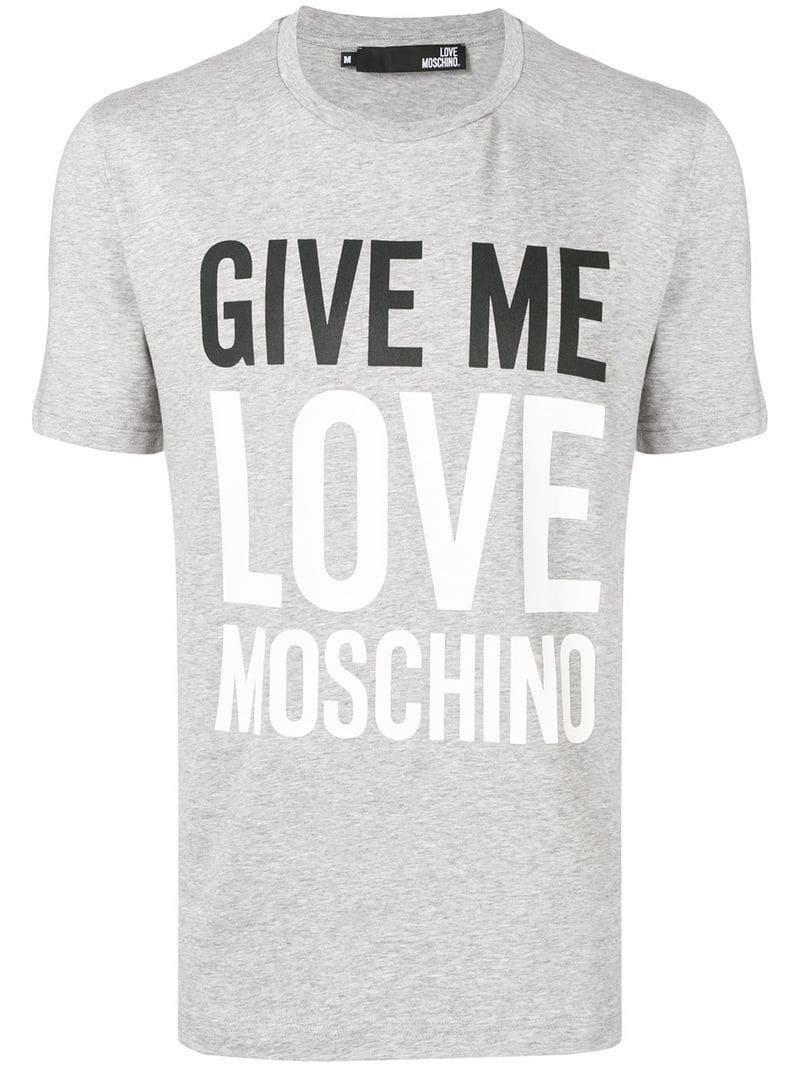 5d8a06b1 Lyst - Love Moschino Peace Short Sleeved T-shirt in Gray for Men