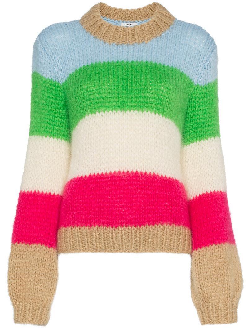 42820f90d01 Ganni. Women's Green Multicoloured Julliard Stripe Mohair Wool-blend Jumper
