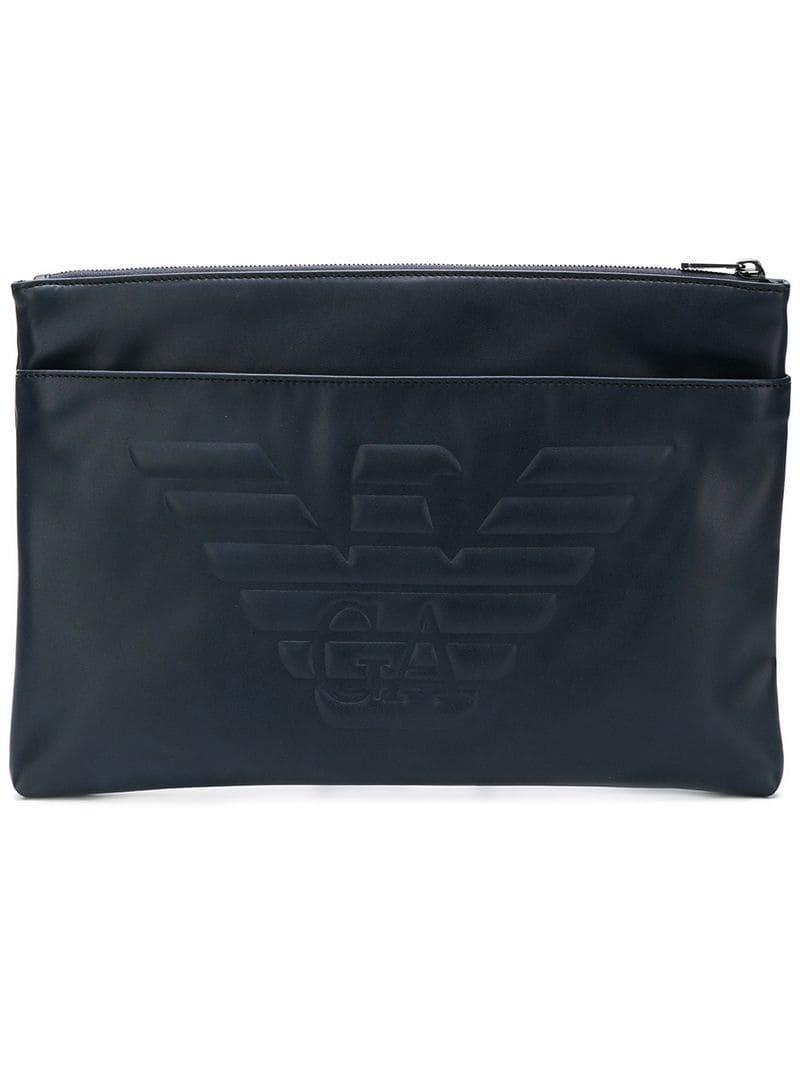 f8d3886cc6 Lyst - Emporio Armani Eagle Clutch Bag in Blue for Men