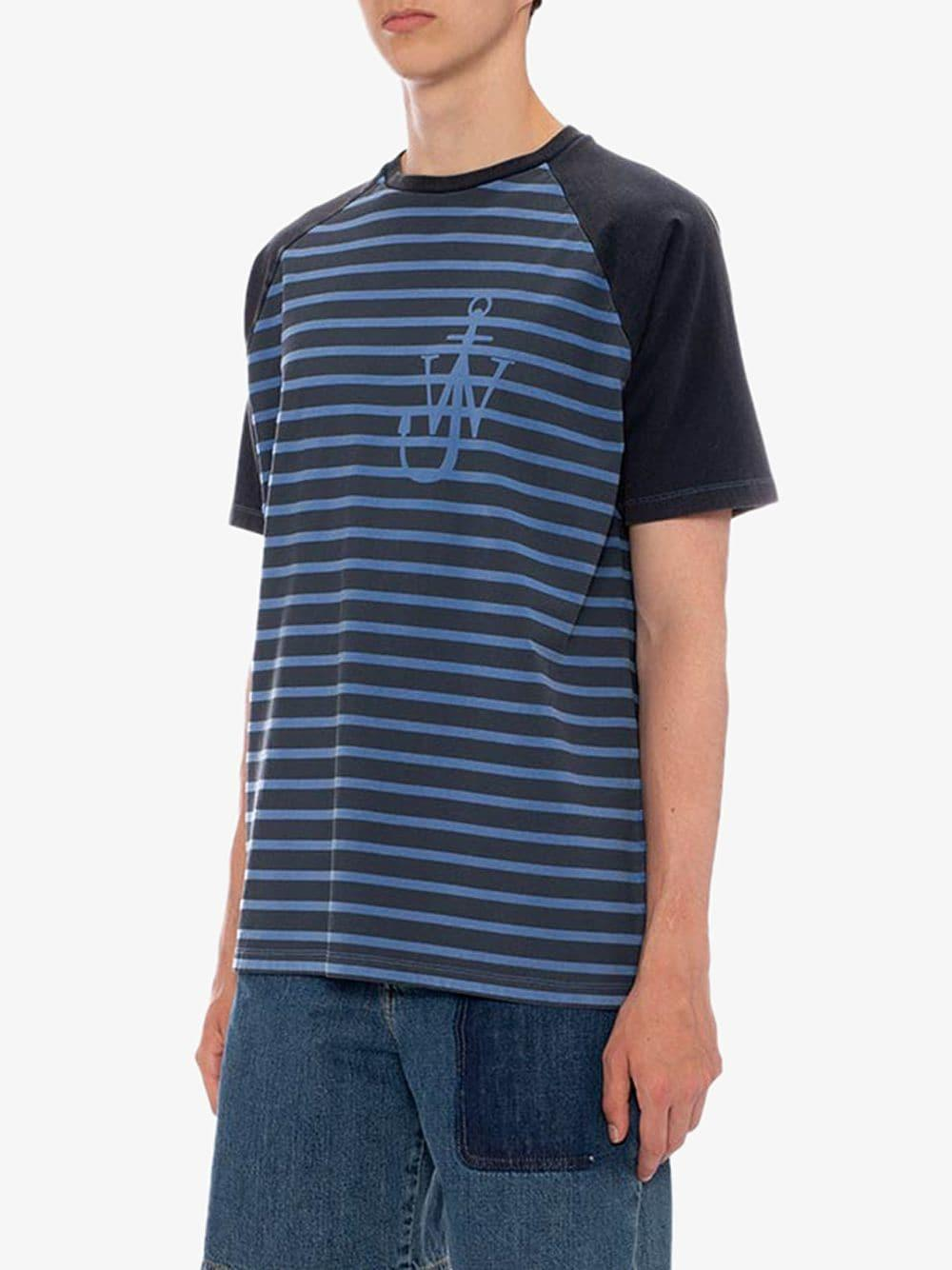 2d4f9c2ec J.W. Anderson - Blue Indigo Jwa Anchor And Stripes Short Sleeve Raglan T- shirt for. View fullscreen