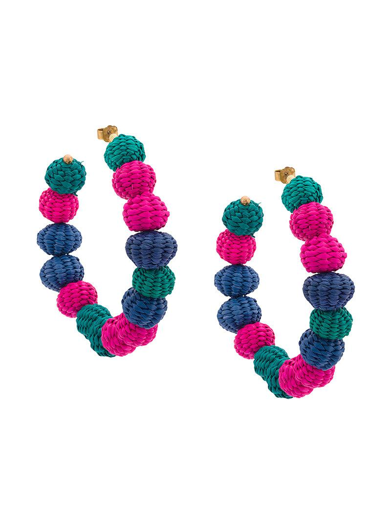 raffia beads earrings - Pink & Purple Carolina Herrera heCZhz