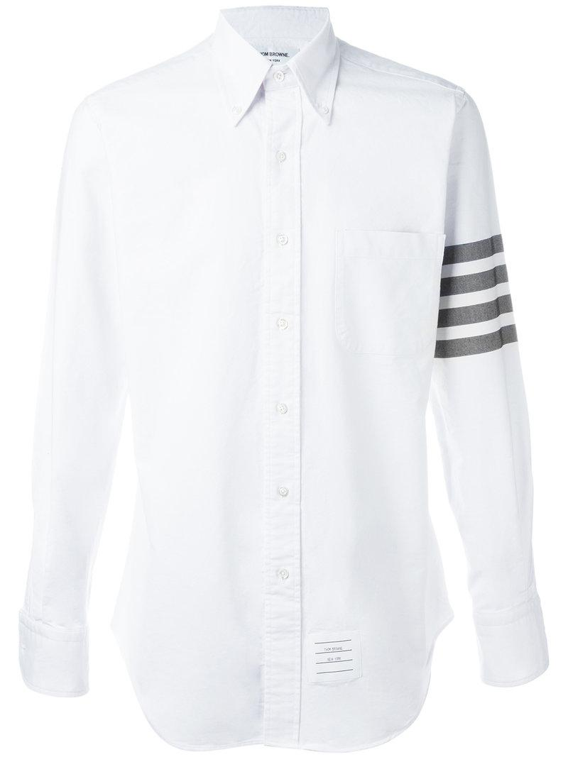 Lyst Thom Browne Stripe Sleeve Shirt In White For Men