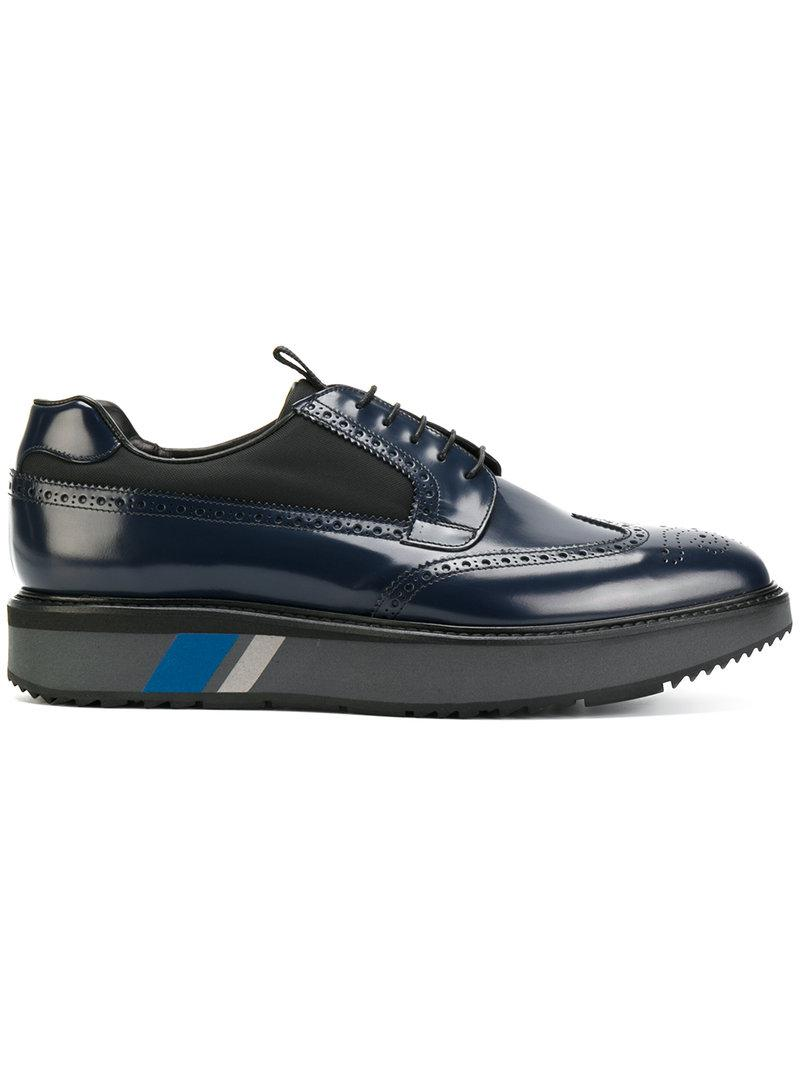 47dfc3224c93 Lyst - Prada Platform Lace-up Brogues in Blue for Men