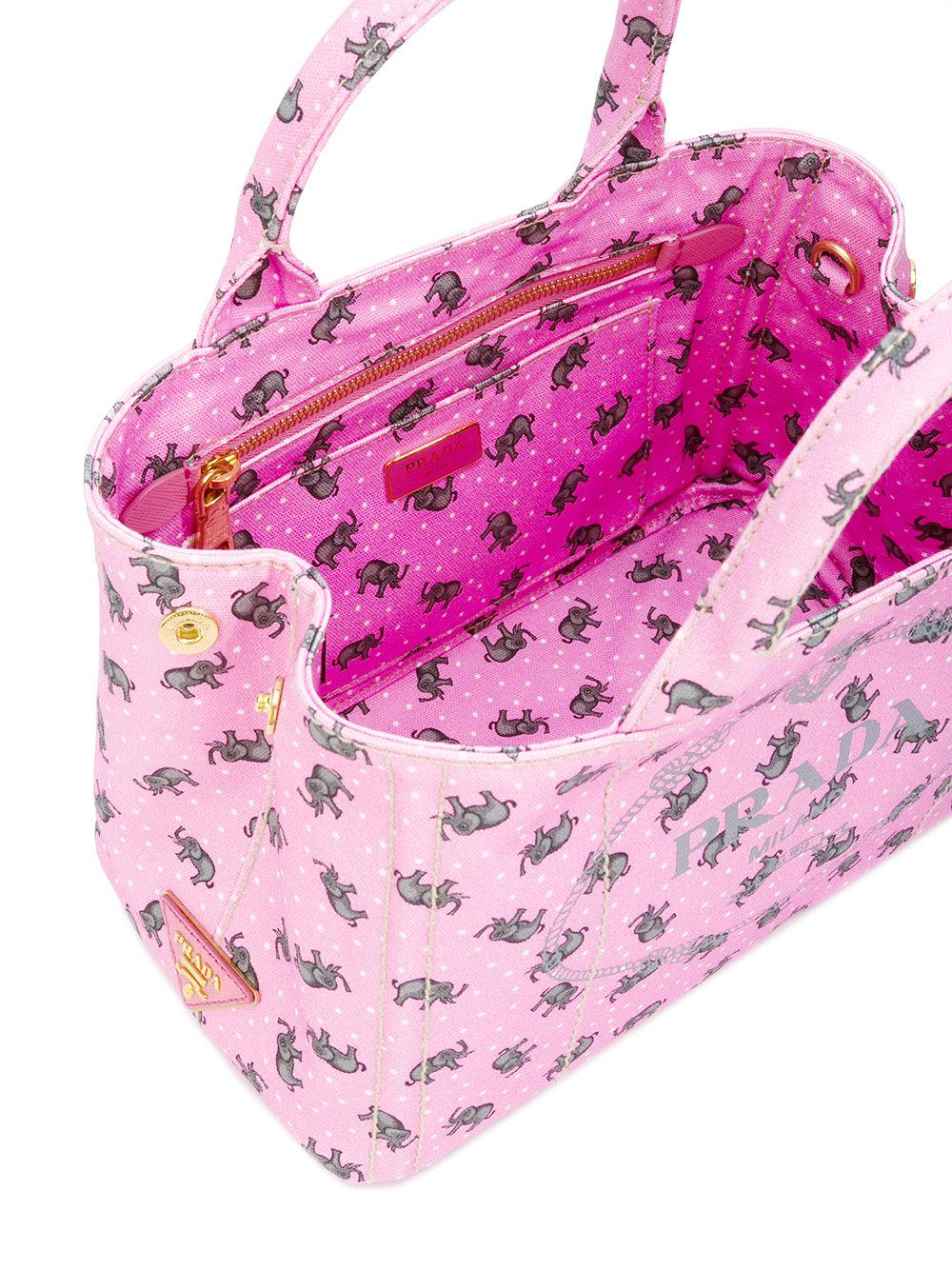 0aa94d33fc ... where can i buy lyst prada elephants print tote women cotton one size  in pink 82248