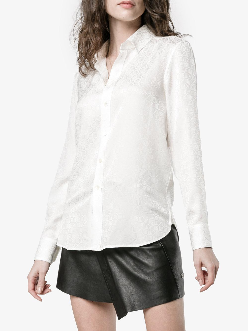 Best Prices Sale Online 2018 Monogrammed Silk Button Down Shirt - Nude & Neutrals Saint Laurent Store Sale Amazing Price For Sale f2208a
