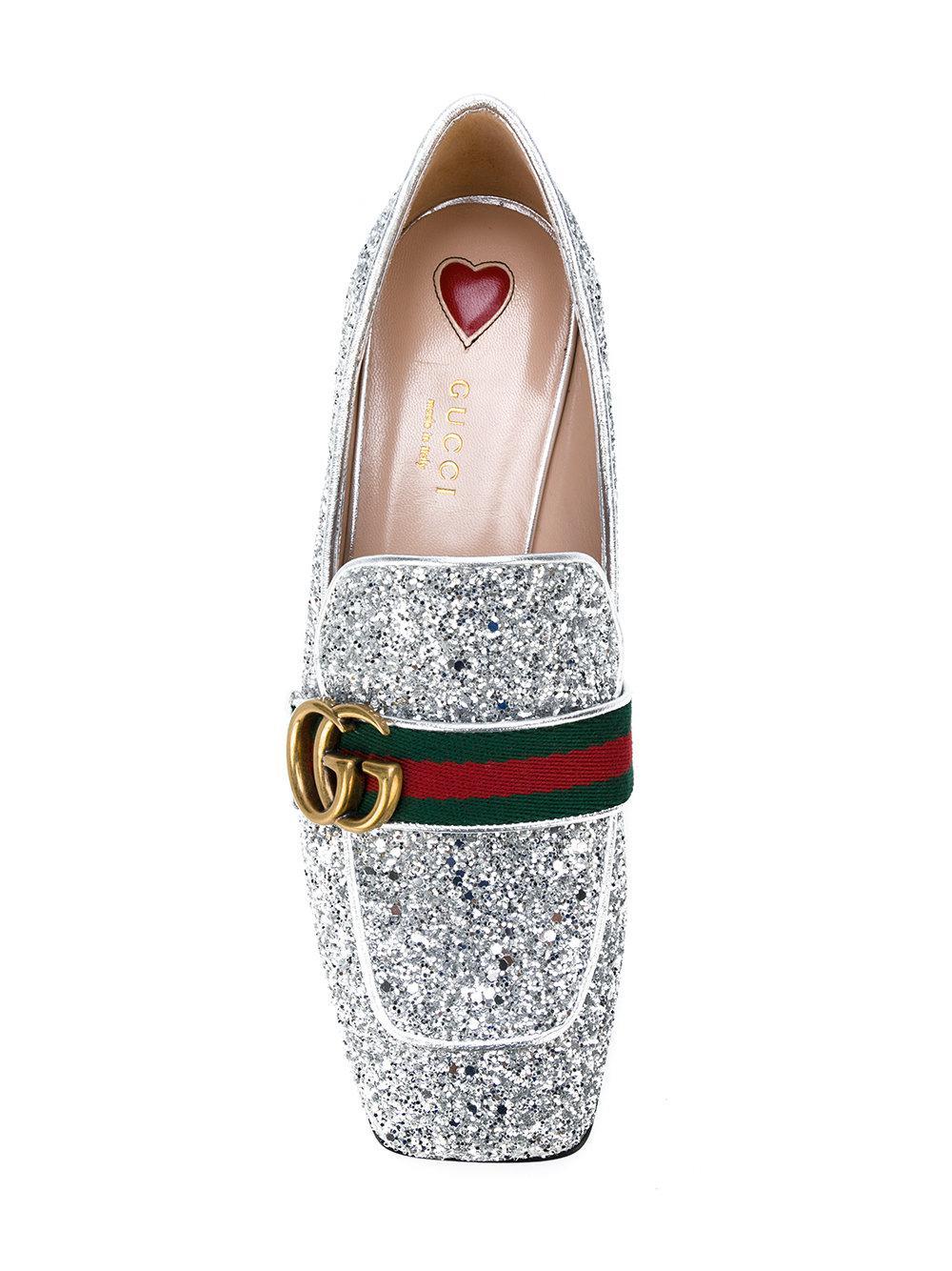 GG Web glitter loafers - Metallic Gucci ba6hpcrpid