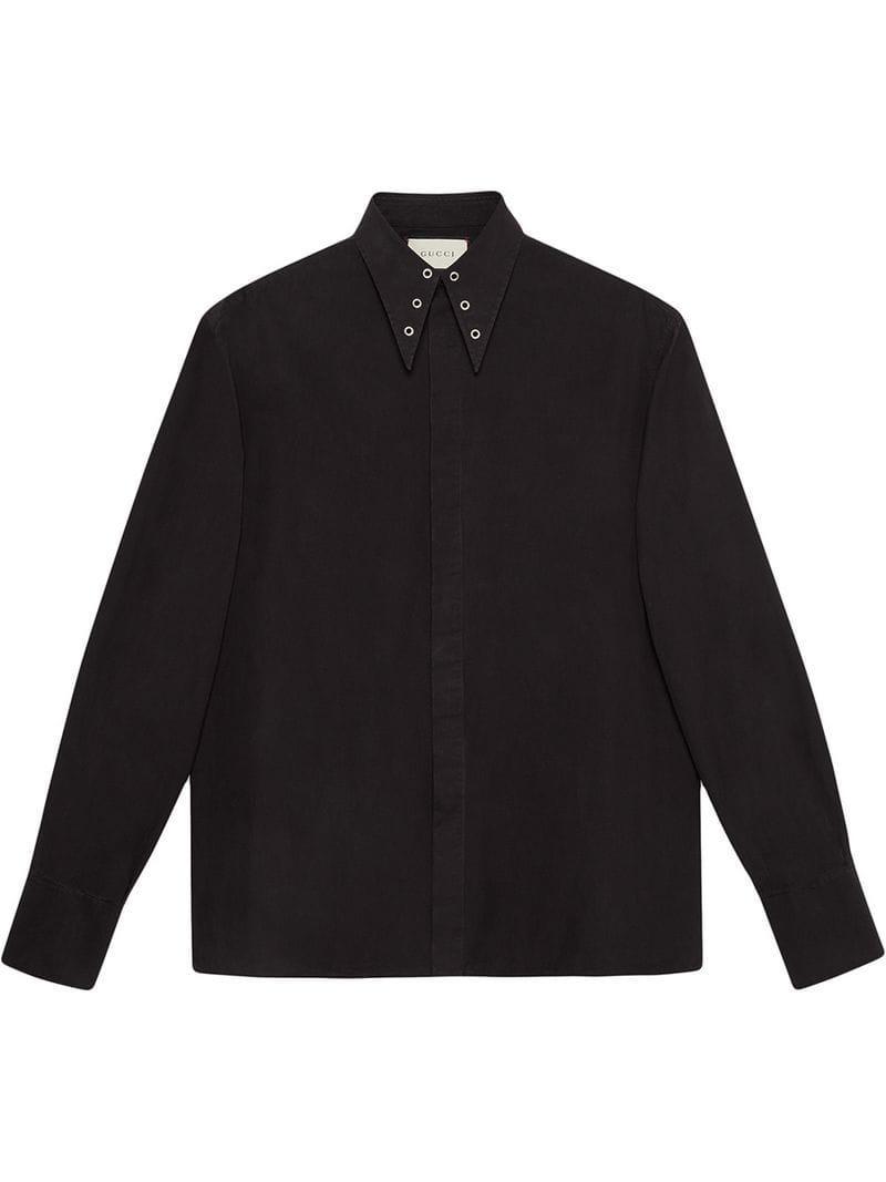 d28ea2de463 Lyst - Gucci Heavy Poplin Shirt With Grommets in Black for Men