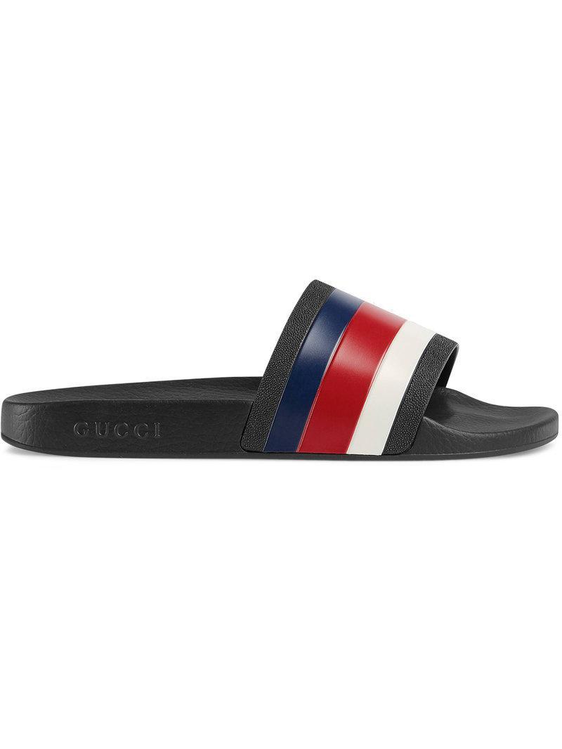 22f0ca0838e6 Gucci Rubber Slide Sandals in Black for Men - Save 8% - Lyst