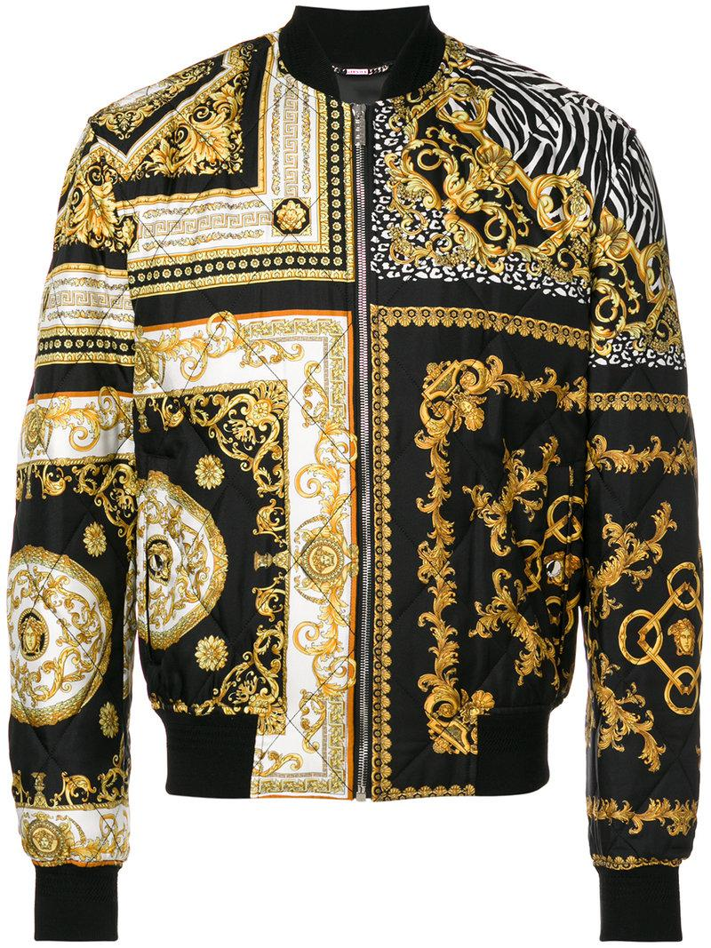 Lyst Versace Baroque Quilted Bomber Jacket In Black For Men