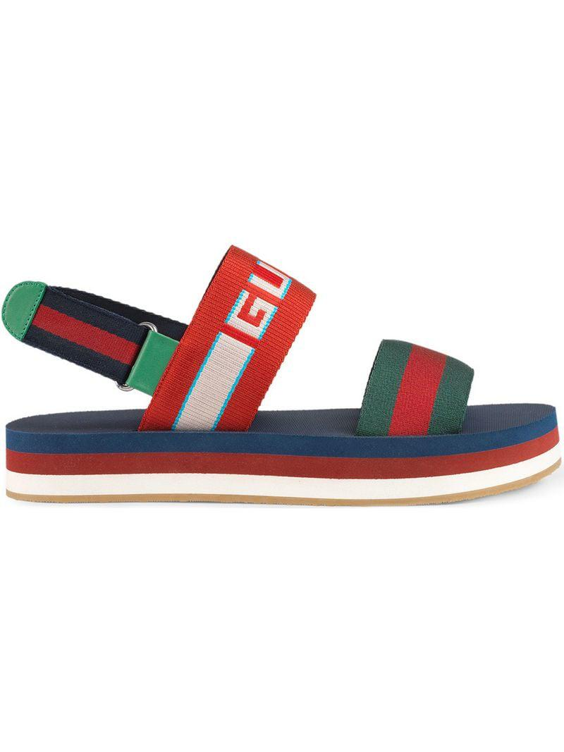 924bfc6d935 Gucci Men s Stripe Strap Sandal - Green Red Blue for Men - Lyst