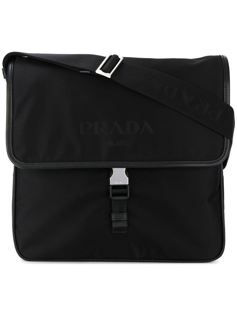 Prada - Black Leather Trim Shoulder Bag for Men - Lyst. View fullscreen a89ab33da0aa0
