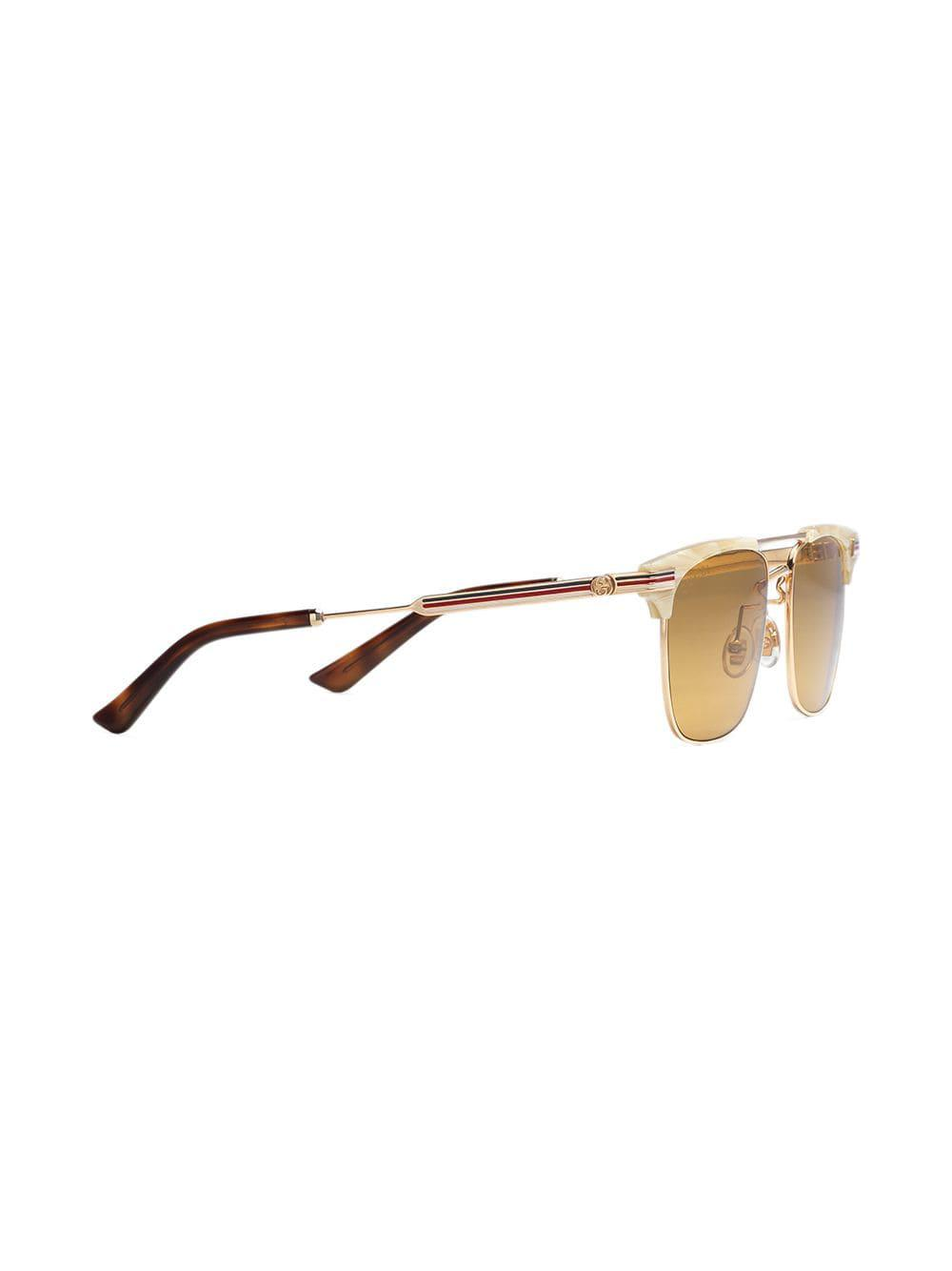 3518659f296 Gucci Square-frame Metal Sunglasses in Metallic for Men - Lyst