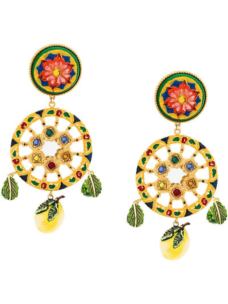 Citron Boucles D'oreilles Clip En Résine Dolce & Gabbana F5fVCz