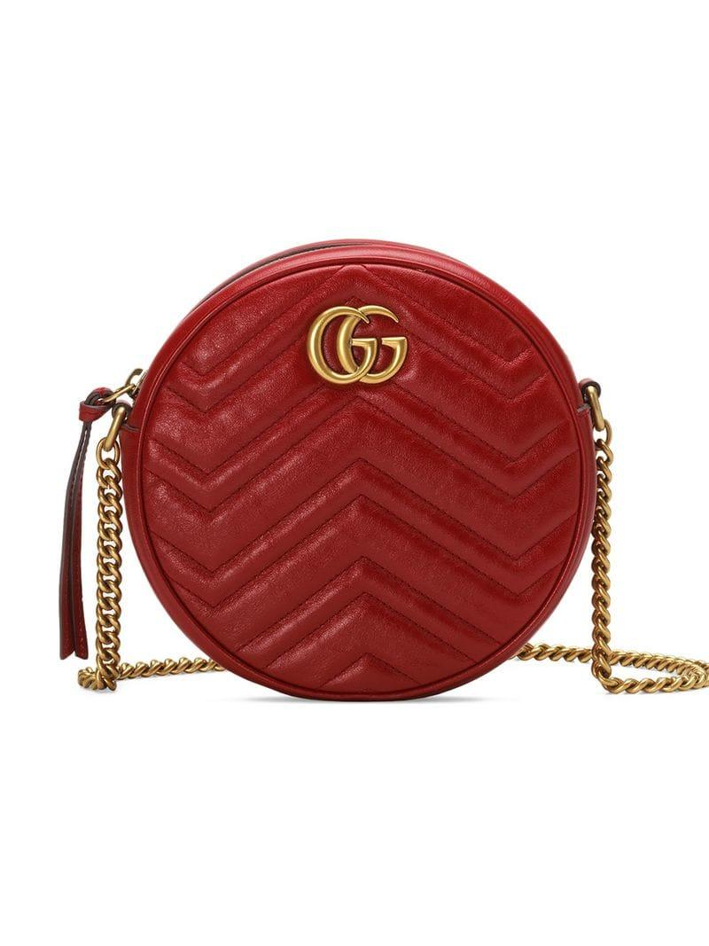 882537773989 Gucci Red GG Marmont Mini Leather Round Shoulder Bag in Red - Lyst