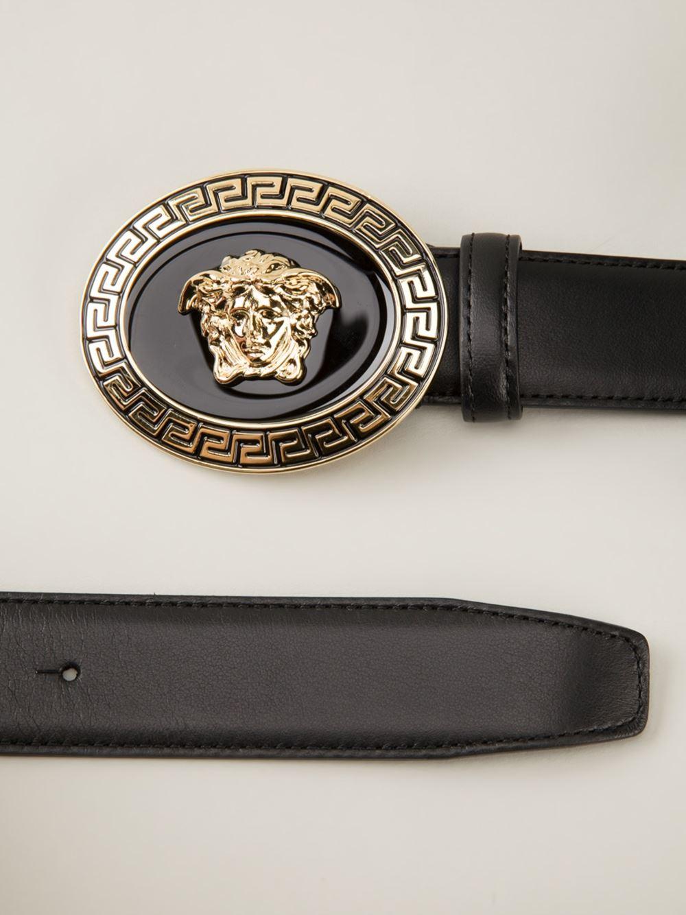 Lyst Versace Oval Medusa Belt In Black For Men