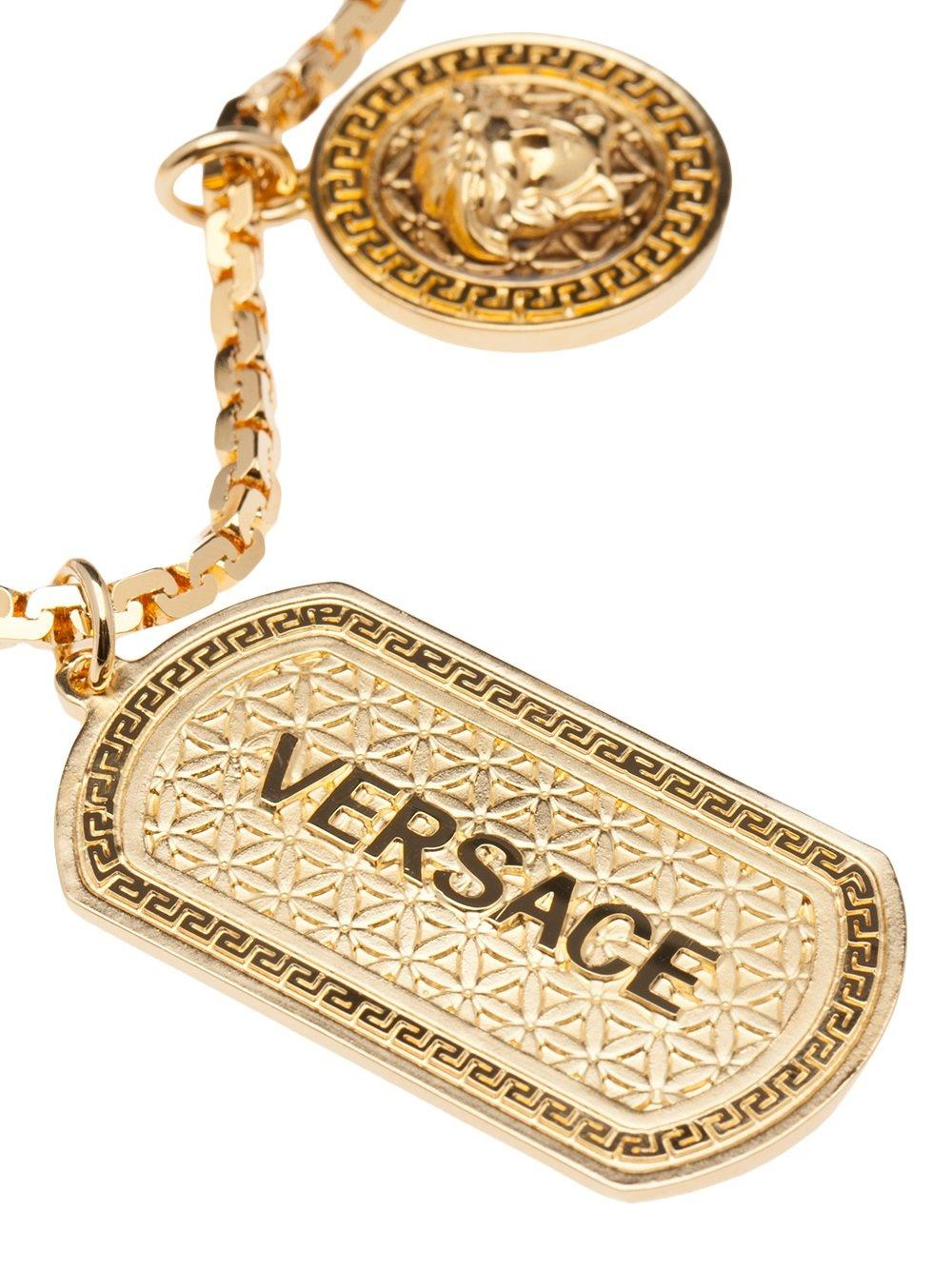 Lyst - Versace Double Dog Tag Necklace in Metallic 830afe1d18d