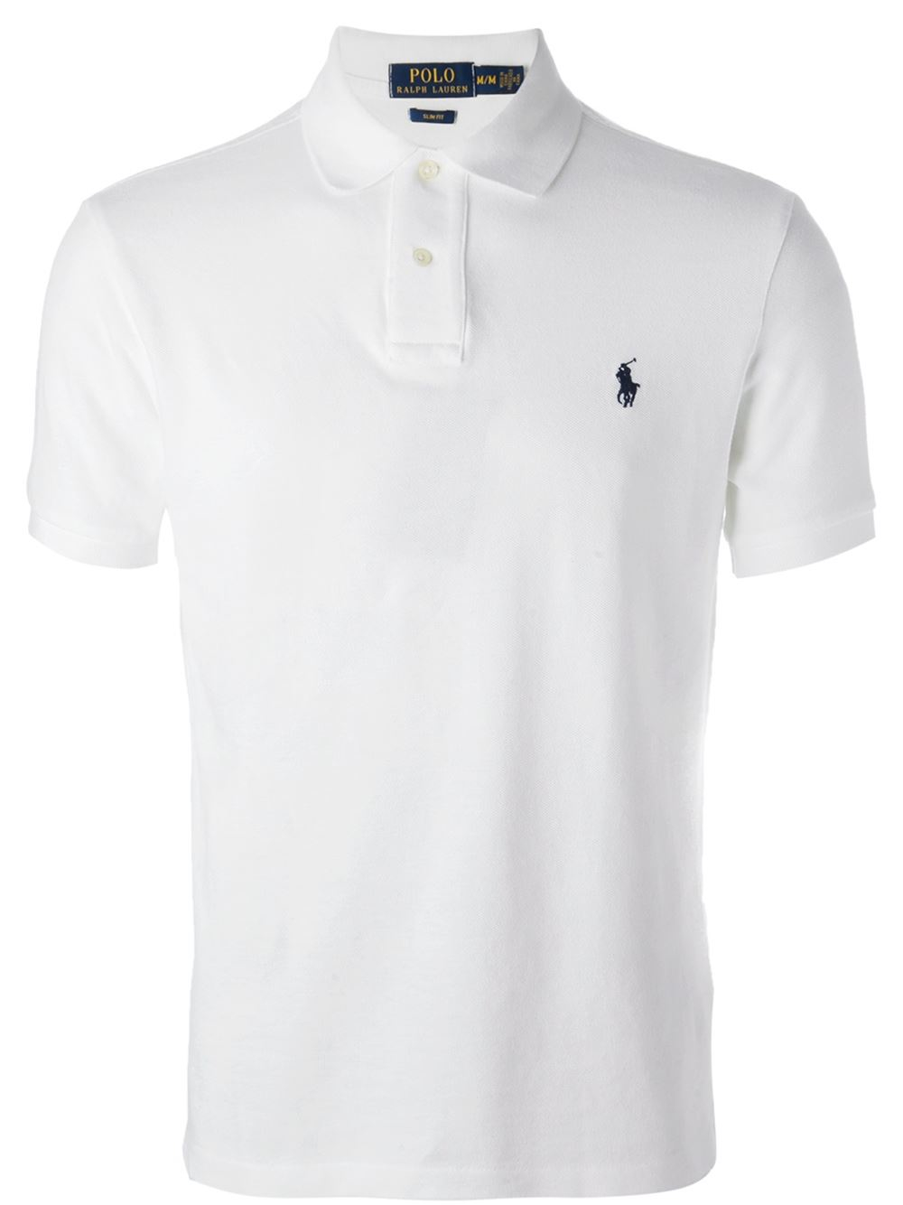 Lyst polo ralph lauren slim fit polo shirt in white for men for White fitted polo shirts