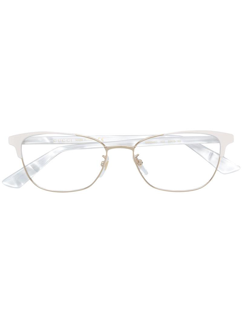 5441a0ec920 Gucci Cat Eye Frame Glasses in White - Lyst