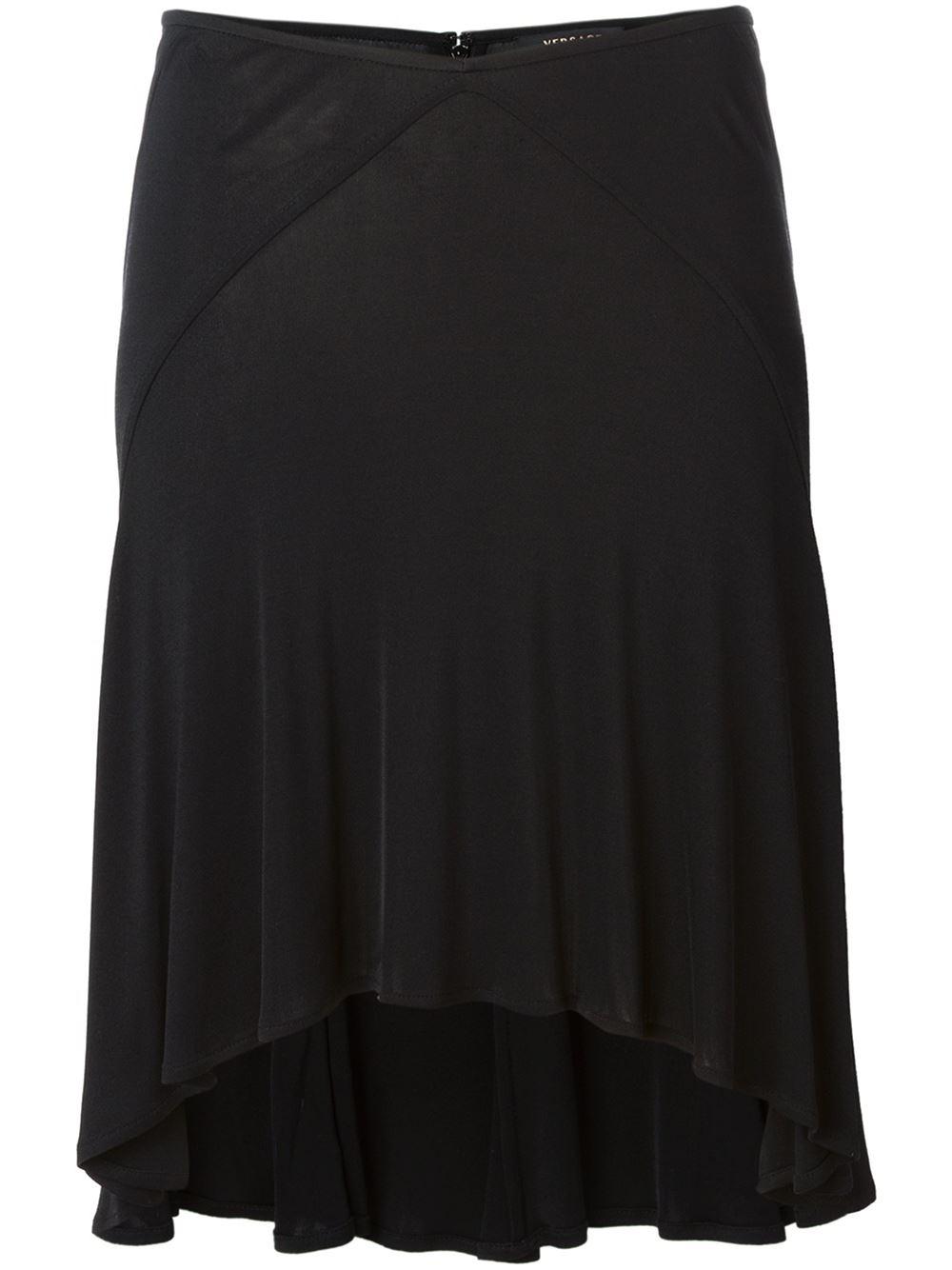 Versace Fluid Flared Skirt in Black