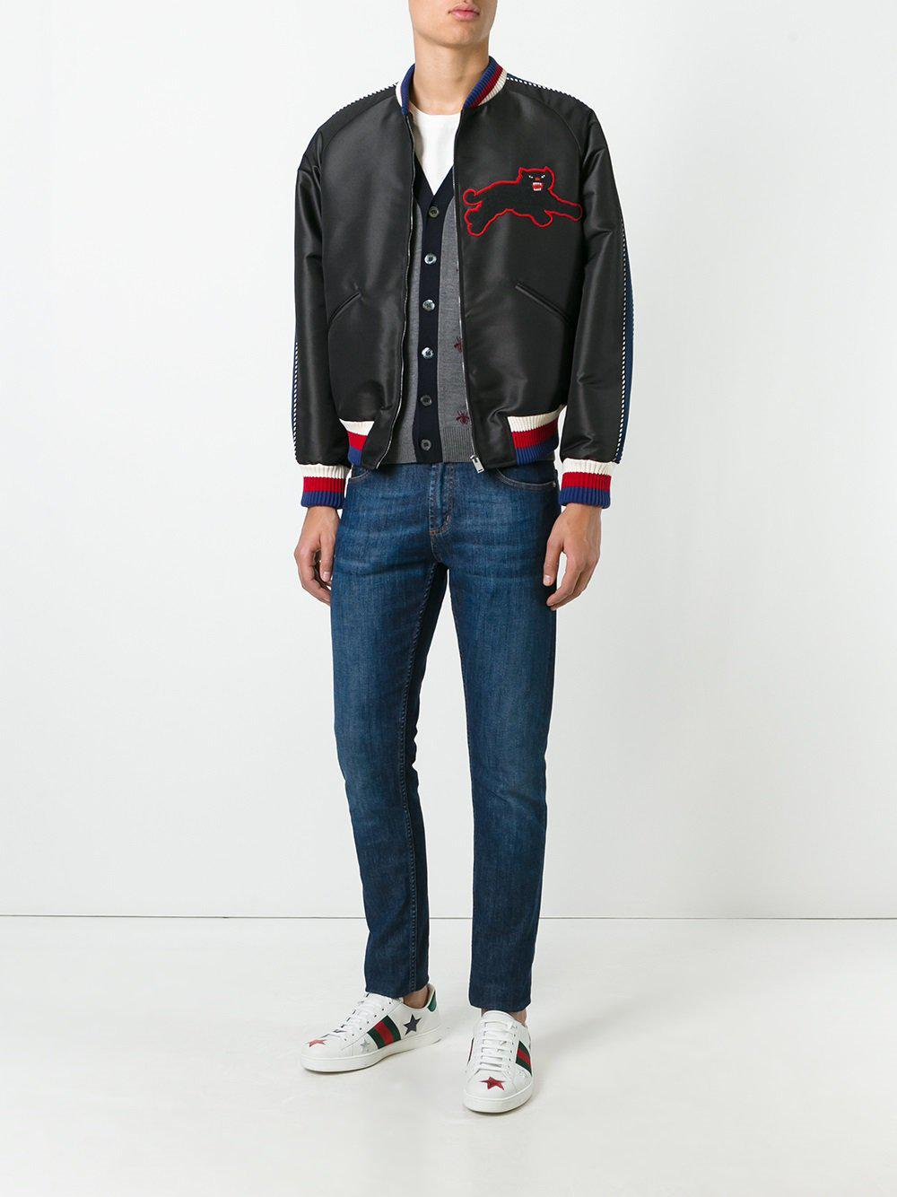 ed113d874256 Lyst - Gucci Panther Embroidery Satin Jacket in Black for Men