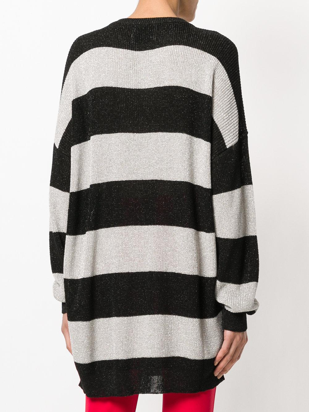 striped oversized sweater - Black Laneus