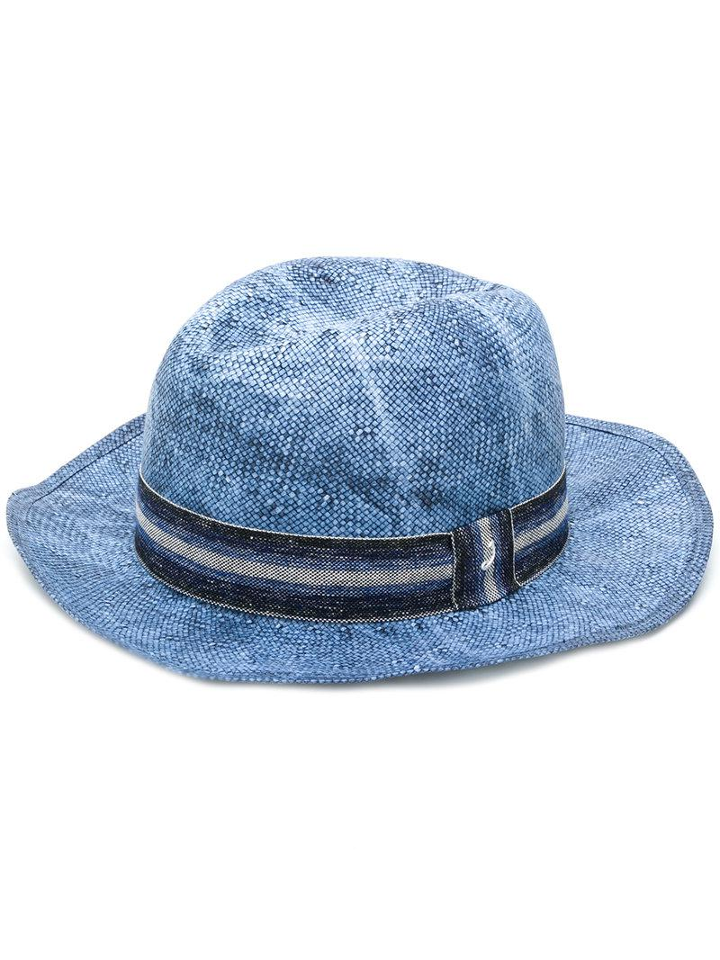 3f27eb23c28 Lyst - Jacob Cohen Handmade Striped Band Hat in Blue for Men