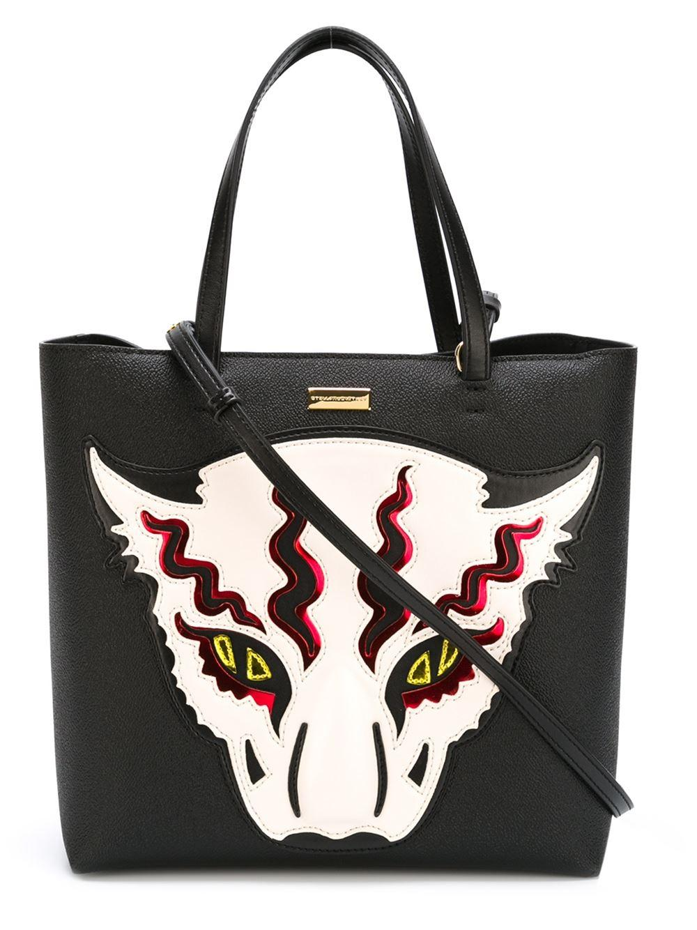 c760934286f8 Lyst - Stella McCartney Wild Cat Appliqué Tote in Black
