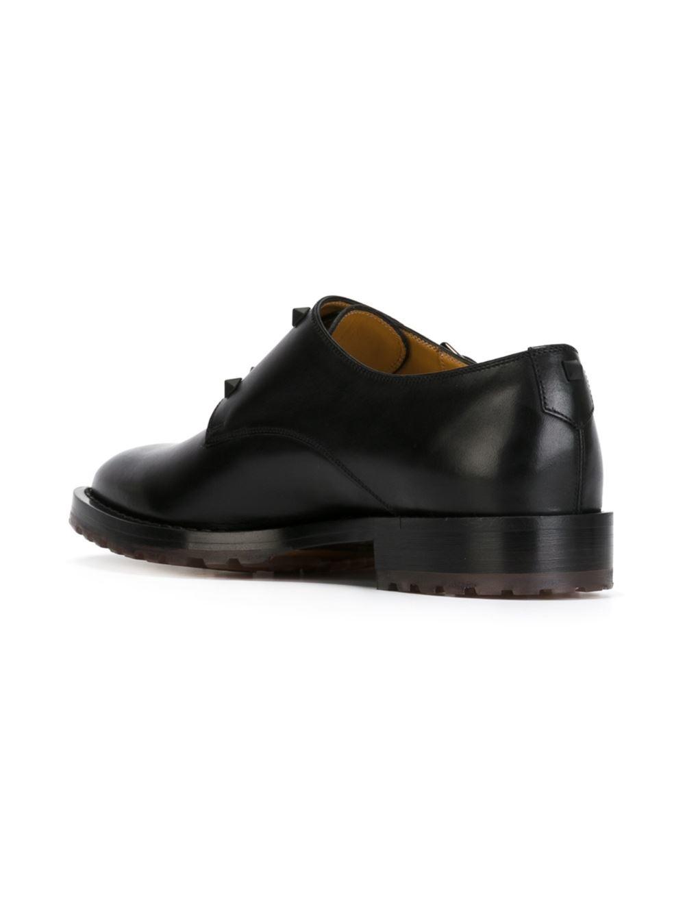 valentino garavani rockstud buckled shoes in black for