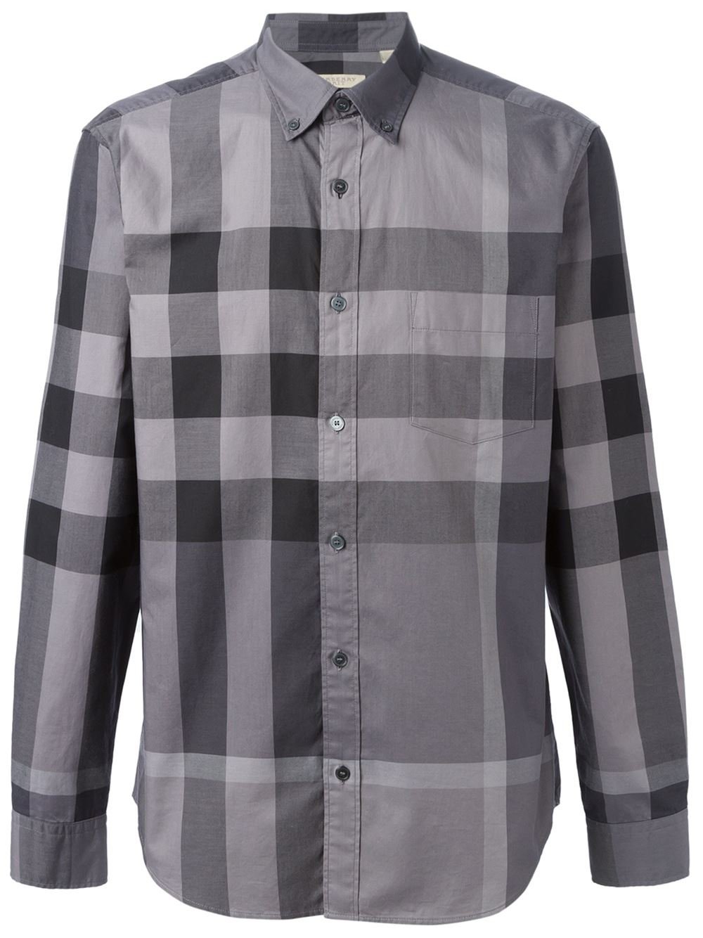 Burberry 39 fred 39 shirt in gray for men lyst for Where are burberry shirts made