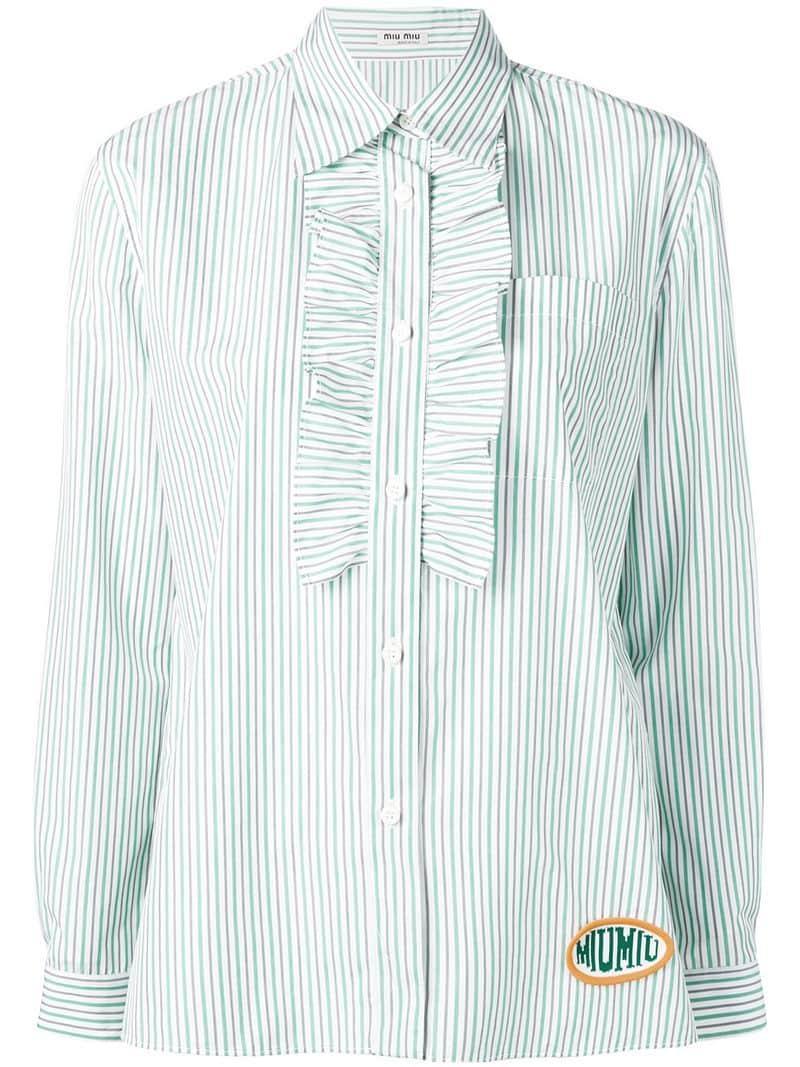 62a2b284093f6b Miu Miu Striped Ruffled-bib Shirt in Green - Lyst