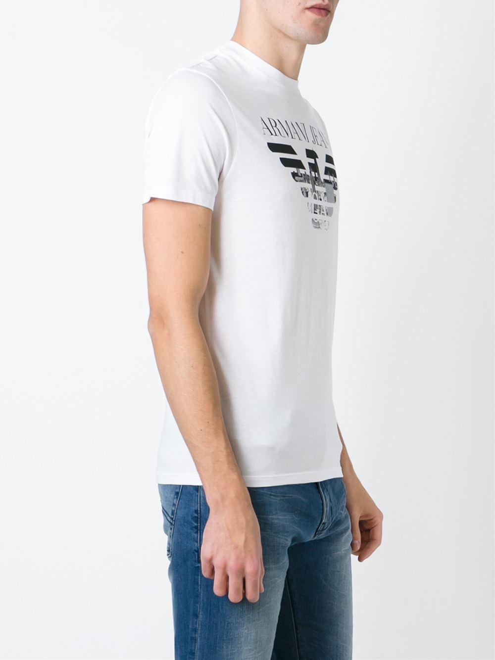 armani jeans logo printed t shirt in white for men lyst. Black Bedroom Furniture Sets. Home Design Ideas